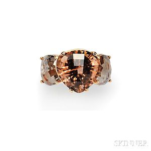 18kt Rose Gold, Tourmaline, and Rose-cut Diamond Ring, Katey Brunini