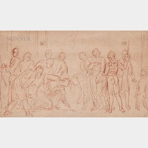 European School, 18th/19th Century      Sketch of Soldiers Gambling or Casting Lots