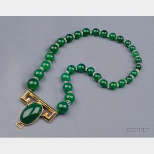14kt Gold and Green Chalcedony Clip/Pendant Necklace