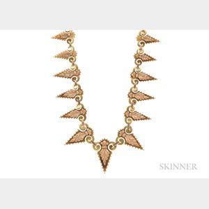 Victorian Bicolor Gold Fringe Necklace