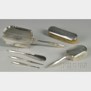 Six-piece R. Wallace and Sons Sterling Vanity Set.