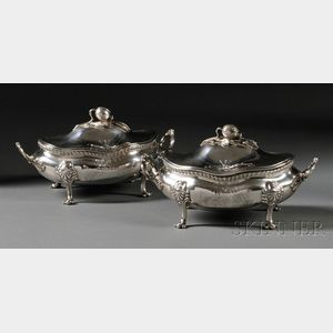 Pair of Sterling Silver Covered Sauce Tureens