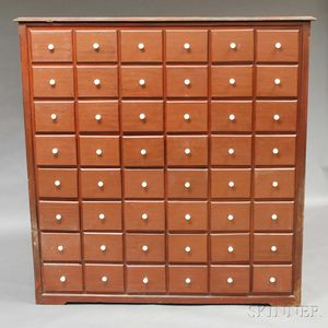 Brown-painted Forty-eight-drawer Apothecary Chest