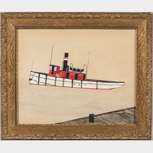 Framed Gouache on Paper Portrait of a Tugboat