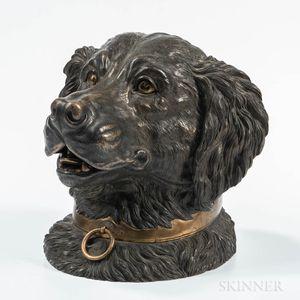Cast Bronze Dog Head-form Tobacco Jar