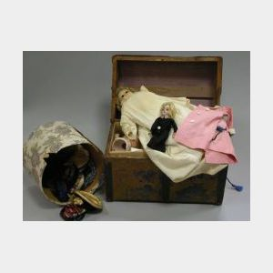 Bisque and Wax Dolls with Trunk, Clothing and Hats