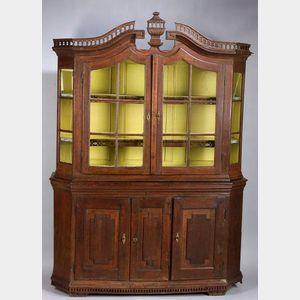 Dutch Baroque Oak Two-Part Display Cabinet