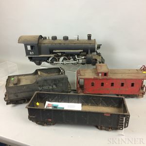 Large Scale Buddy L. Pressed Steel Engine, Tender, Car, Caboose, and Tracks.