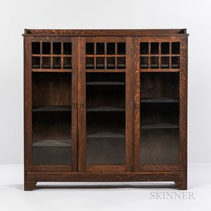 Arts and Crafts Three-door Glazed Bookcase