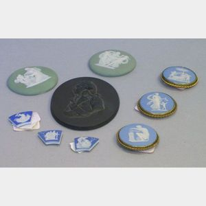 Eight Assorted Wedgwood and Related Jasper Medallions and a Basalt Medallion.