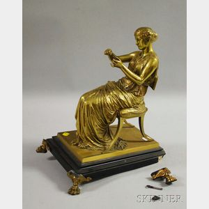 After Jean Jules Salmson (French, 1832-1902)      Classical Bronze Seated Figure of a Maiden