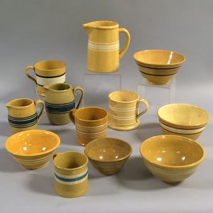 Group of Banded Yellowware Items
