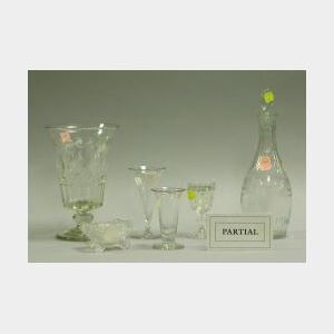 Fourteen Colorless and Opalescent Glass Table Items.
