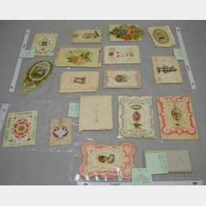 Approximately Twenty Late Victorian Embossed and Die-cut Paper Valentines.