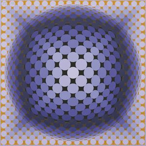 Victor Vasarely (French/Hungarian, 1908-1997)      Untitled (Sphere in Purple and Gold)