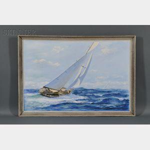 Richard K. Loud (American, b. 1942)    Racing Yacht