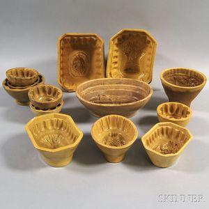 Thirteen Yellowware Food Molds