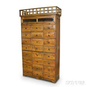 Glazed Wood Storage Cabinet