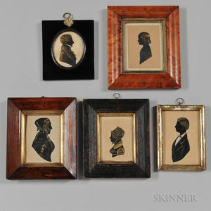 Five Framed Silhouettes with Gilt Details