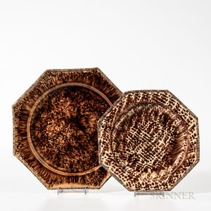 Two Brown Staffordshire Tortoiseshell-glazed Plates
