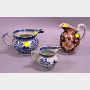 Imari Cream Pitcher and Two Chinese Export Porcelain Canton Blue and White Creamers.