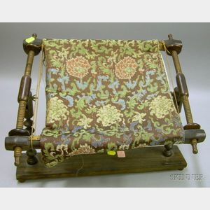 Turned Wood Embroidery Frame and Textile Fragment.