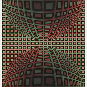 Victor Vasarely (French/Hungarian, 1908-1997)      Untitled (Two Spheres in Green and Rose)