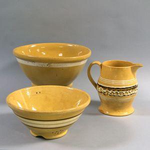 Three Large Banded Yellowware Items