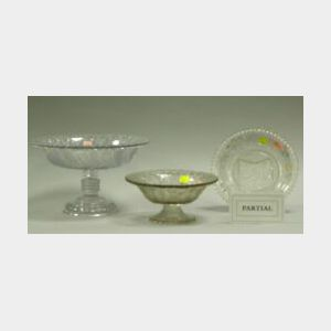 Seven Pieces of Colorless Pressed Lacy Pattern Glass.