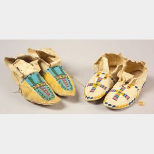 Two Pairs of Southern Plains Beaded Hide Moccasins