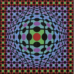 Victor Vasarely  (French/Hungarian, 1908-1997)      Untitled (Multicolored Sphere with Polka Dots)
