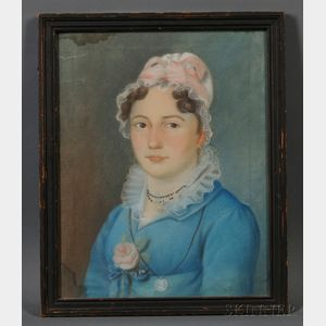 American School, Early 19th Century      Portrait of a Young Woman in a Blue Gown Adorned with a Pink Rose.