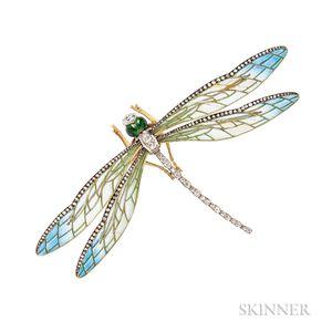Art Nouveau Style Plique-a-Jour Enamel and Diamond Dragonfly Brooch