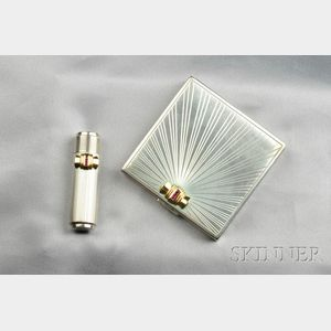 Retro Sterling Silver and 14kt Gold Compact and Lipstick Case, Tiffany & Co.