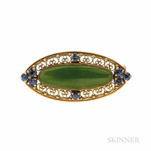 Arts and Crafts Tiffany & Co. 18kt Gold, Jade, and Sapphire Brooch
