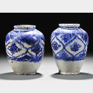 Two Blue and White Pottery Vases