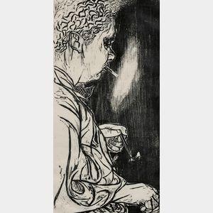 Antonio Frasconi (Argentine, b. 1919)      Portrait of Dylan Thomas