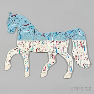 Howard Finster (American, 1916-2001)      Horse: Heaven is Worth it All