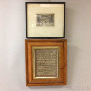 """Framed Needlework Sampler """"Jane Wilcock"""" and an Etching of a Town Square"""