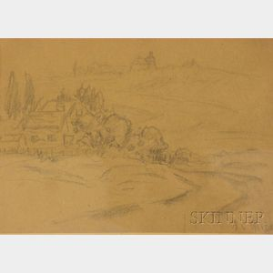 Framed Graphite on Paper/Board Landscape Sketch by Arthur Clifton Goodwin      (American, 1864-1929)