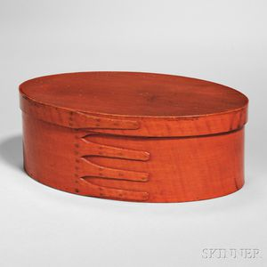 Shaker Bittersweet-stained Covered Oval Maple and Pine Box