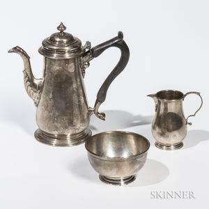 Three-piece Currier & Roby Sterling Silver Coffee Service