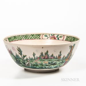 Staffordshire Enamel-decorated Salt-glazed Stoneware Punch Bowl