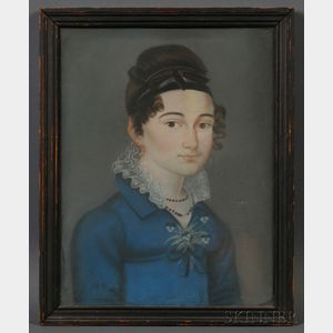 American School, Early 19th Century      Portrait of a Woman Wearing a Blue Gown Adorned with a Posy of Violets.