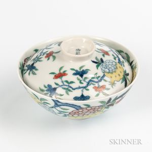 Doucai Enameled Rice Bowl and Cover