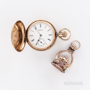 14kt Gold Hunter-case Watch and 10kt Gold Fob