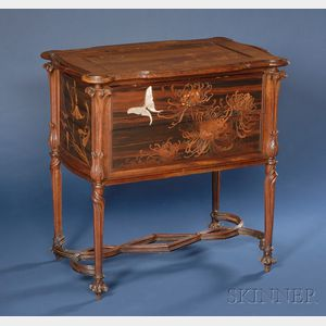 Sold for: $136,275 - Galle Mother-of-Pearl and Fruitwood Marquetry-inlaid Two-drawer Side Table