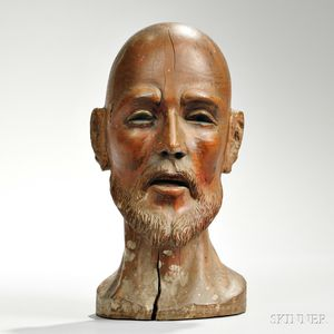 Carved Wood Bust of St. Ignatius Loyola