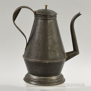 Stippled Tulip-decorated Tin Coffeepot