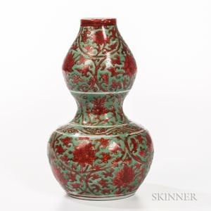 Sold for: $363,000 - Red- and Green-enameled Double Gourd Vase